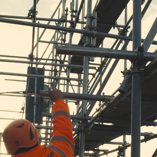 picture of commercial scaffolding during quality control