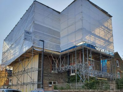 picture of a scaffolding erected on residential building