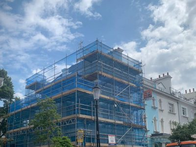 picture of building with scaffolding erected
