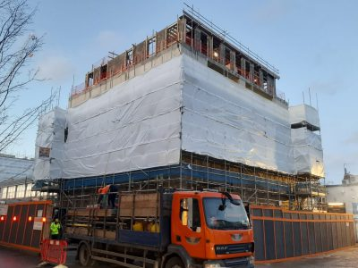 picture of scaffolding covered with sheeting