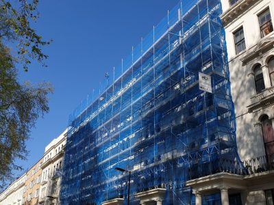 picture of a scaffolding on front of the building in london erected by atd